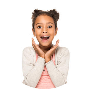 image of a young girl looking excited and surprised